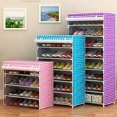 鞋架簡易家用家里人組裝經濟型宿舍寢室多層鞋架收納布藝防塵鞋櫃     韓小姐の衣櫥