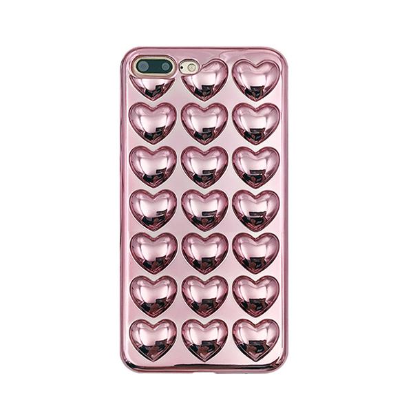【R現貨】立體愛心 電鍍 附編織掛繩 手機殼 蘋果 iPhone 7 8 plus 亮面 防摔 全包邊軟殼