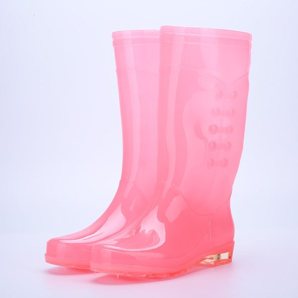 雨鞋 成人雨鞋女透明糖果時尚防水膠鞋女雨靴高筒防滑防水時尚水鞋水靴 薇薇
