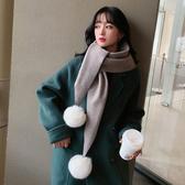韓國東大門菱形純色呢子柔軟圍巾 女冬可愛球球圍脖百搭仿羊絨披肩