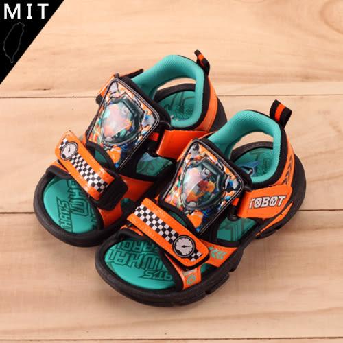 男童款 機器戰士 TOBOT 魔鬼氈可調節 電燈涼鞋 MIT製造 59鞋廊