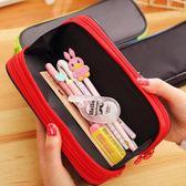 簡約大容量帆布筆袋初中生鉛筆盒