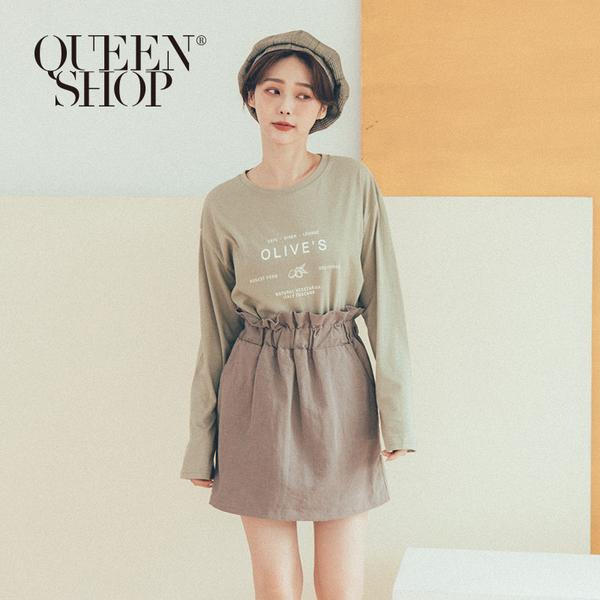 Queen Shop【01038195】OLIVES字母印花長袖棉T*現+預*