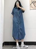 【快出】牛仔裙開衫牛仔襯衫裙女春季新款中長款韓版寬鬆復古一排扣顯瘦洋裝子