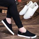 懶人鞋夏季男士休閒鞋男鞋一腳蹬懶人帆布鞋男板鞋老北京小白鞋潮流布鞋店長推薦好康八折