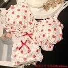 日系甜美少女風裙擺荷葉邊草莓文胸套裝無鋼圈舒適薄款內衣女士