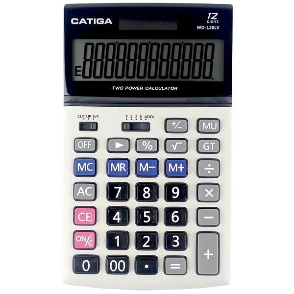 CATIGA 桌上型商用計算機WO-120LV 12位數/一台入(促299) 中長型 螢幕角度可調整-信力
