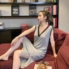 莫代爾洋裝 莫代爾無袖露背性感睡裙夏季薄款吊帶誘惑冰絲中長款睡衣女連身裙-Ballet朵朵