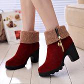 靴子 高跟粗跟厚底女鞋短靴百搭女靴子兩穿保暖加棉中筒靴 酷我衣櫥