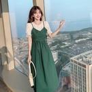 VK精品服飾 韓系優雅娃娃荷葉袖撞色拼接修身收腰短袖洋裝