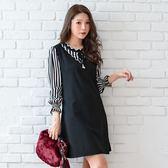 氣質洋裝--優雅撞色波形羅紋珍珠蝴蝶結荷葉A字寬鬆長袖連衣裙(黑L-3L)-A366眼圈熊中大尺碼