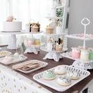 生日佈置甜品臺擺件婚禮展示架子歐式水果擺臺塑膠蛋糕托盤點 YJT