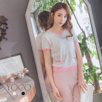 東京著衣【YOCO】典雅呢裳多色格紋配色針織上衣-S.M.L(170381)