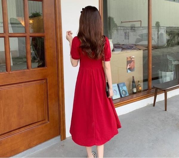 洋裝 連身裙 中大尺碼M-4XL大碼輕奢法式茶歇裙設計感宮廷風復古禮服中長款裙子4F041B-561.胖胖唯依