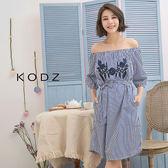 東京著衣【KODZ】歐美刺繡綁帶一字領襯衫洋裝-S.M(180976)