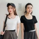 MIUSTAR 配色假兩件短版棉質上衣(共3色)【NJ1025】預購