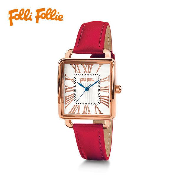 Folli Follie RETRO 典雅時尚女錶-紅皮X玫瑰金
