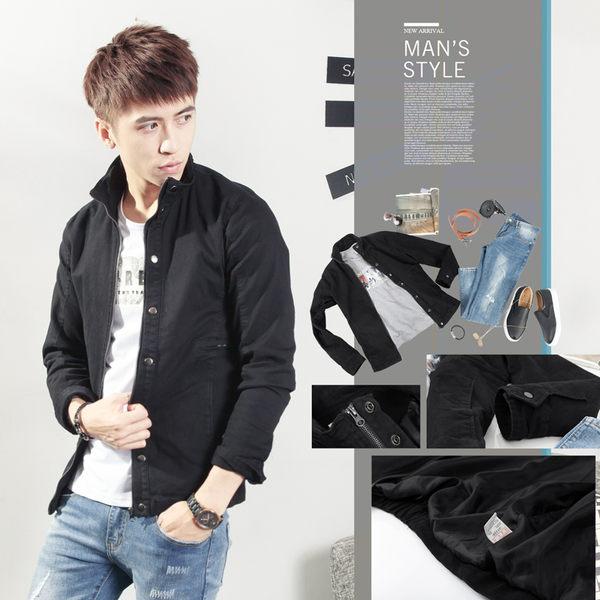 。SW。正韓 韓國製 超彈力輕硬挺棉質布 拉鍊/釘扣 雙開設計 黑 輕 夾克外套 GD 英倫【K71286】