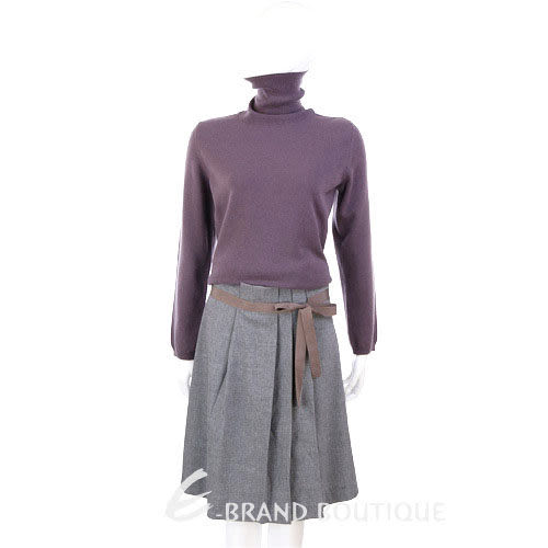FABIANA FILIPPI 灰色抓褶綁帶及膝裙 0740234-06