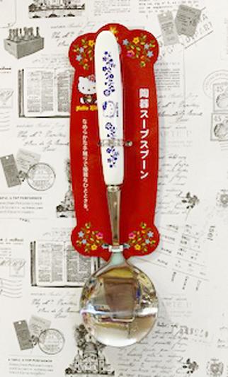【震撼精品百貨】Hello Kitty 凱蒂貓~三麗鷗 kitty 日本不銹鋼陶瓷柄湯匙-紫(17.8CM)#17027