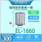 【怡心牌】 總公司貨 EL-1660電熱水器 套房 宿舍推薦 恆溫電子溫控 20加侖熱水器 全機防水IPX5