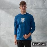 【JEEP】3D圖騰休閒長袖TEE (藍)