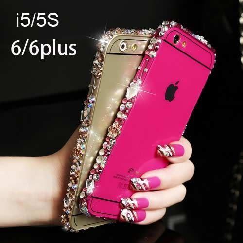 【紅荳屋】iphone6 6plus 5/5S 金屬邊框水鑽後蓋手機殼保護套