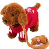 兒童電動毛絨玩具狗狗會唱歌跳舞電子機械狗仿真泰迪牽繩走路小狗【快速出貨】
