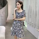一字领洋装 一字領露肩性感氣質洋裝女裝2021夏季新款收腰抽繩荷葉邊碎花裙