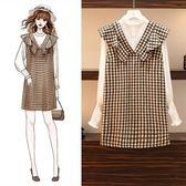 韓版休閒兩件套XL-5XL2019秋裝新款大碼女裝胖mm寬鬆馬甲裙子兩件套R032-6027