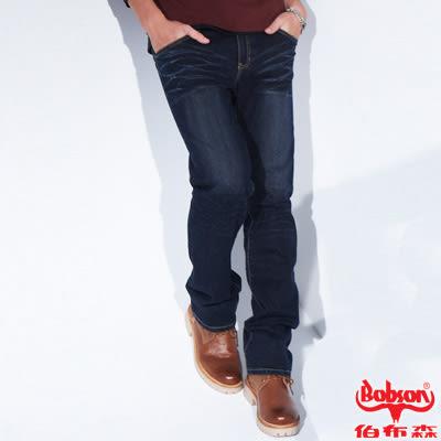 BOBSON 男款保暖低腰直筒褲(藍1768-53) 歲末禮