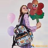 後背包小花雙肩背包女書包日韓版時尚潮流戶外旅行