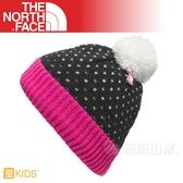 【The North Face 兒童 編織保暖帽《黑/恰恰粉》】NF0A2T6TTJ1/兒童帽/保暖帽/編織帽/毛帽