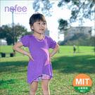 紫色公主澎袖不規則裙襬造型星星棉Tee