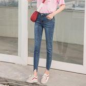 韓版修身顯瘦彈力小腳高腰九分牛仔褲女不規則腳邊 美斯特精品