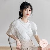 白色短袖雪紡上衣t恤女設計感寬松拼接荷葉邊上衣【大碼百分百】