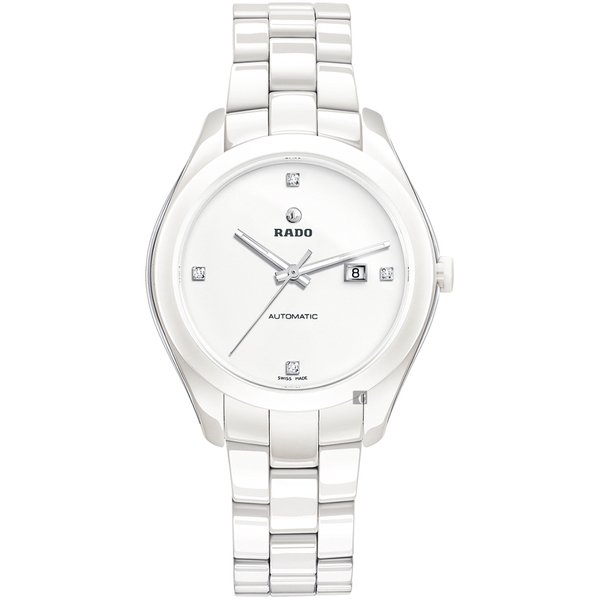 RADO 雷達 HyperChrome 皓星真鑽陶瓷機械錶-白/36mm R32258702