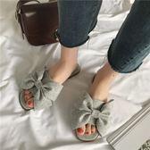一字拖鞋女夏季新款韓版平底蝴蝶結涼拖鞋外穿露趾平底沙灘鞋