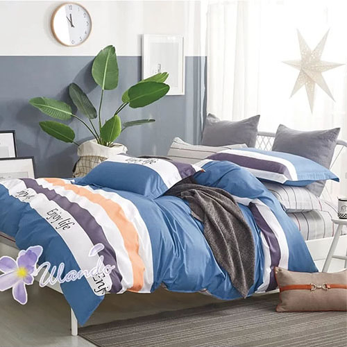 精梳棉四件式被套床包組 雙人加大-1組 (享受生活-藍) 4947383001 【KP05031】99愛買生活百貨