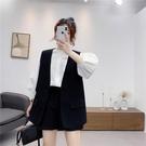 西裝馬甲 春季黑色馬甲女正韓時尚寬鬆背心V領上衣西裝馬甲外套-Ballet朵朵