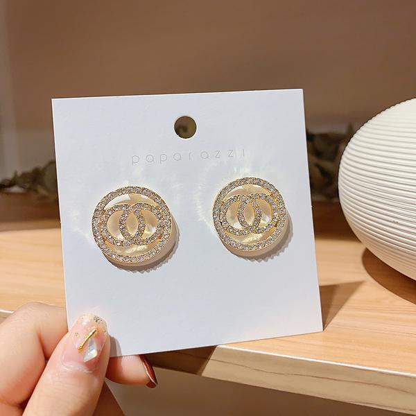雙圈高級感耳環韓國氣質圓圈純銀耳釘網紅耳飾2021年新款百搭時尚