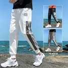 夏季運動男士九分夏裝潮流束腳工裝褲子寬鬆直筒潮牌百搭休閒長褲 米娜小鋪