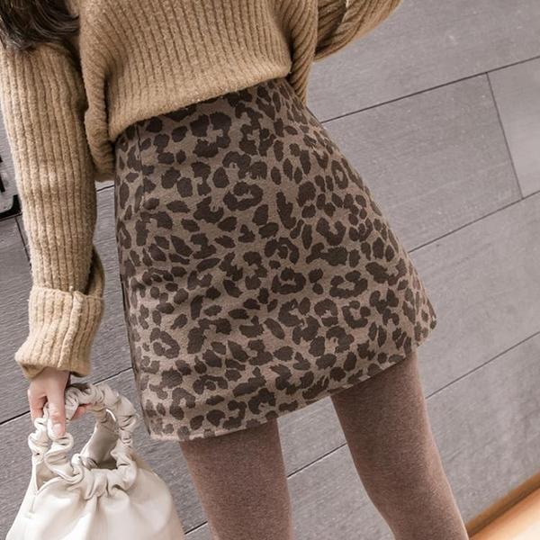 豹紋毛呢a字半身裙子女2021秋冬新款復古包裙一步裙打底包臀短裙 百分百