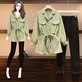 大碼女裝系帶襯衣牛仔褲套裝秋冬胖妹妹mm洋氣減齡顯瘦兩件套-Milano米蘭