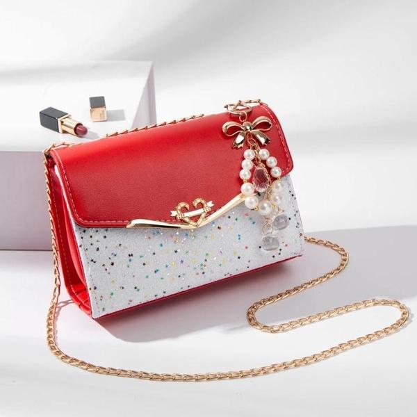 鍊條包 2021包包女新款網紅ins風側背斜背手提包時尚百搭小包包鍊條白色  伊蘿