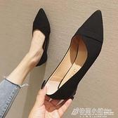 不累腳春夏舒適職業黑色尖頭平底鞋子大碼淺口單鞋工作軟底上班女 秋季新品