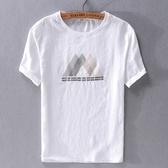 亞麻T恤-棉麻刺繡潮流白色短袖男上衣73xf36【巴黎精品】