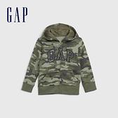 Gap男幼童 Logo磨毛刷毛舒適拉鍊連帽衫 600533-綠色迷彩