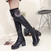 膝上靴 5050高筒靴顯瘦彈力靴粗跟膝上靴中高跟2019秋冬新款女長筒靴子