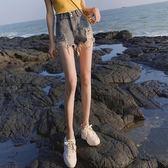 褲熱褲高腰破洞灰色毛邊網紅同款牛仔短褲女學生寬鬆闊腿熱褲2019夏新款『新佰數位屋』